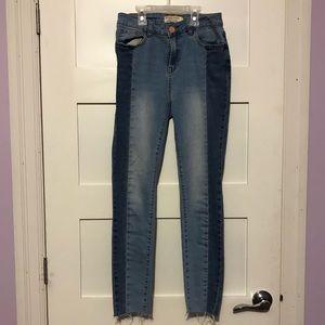Denim - Colour blocked high rise skinny jeans
